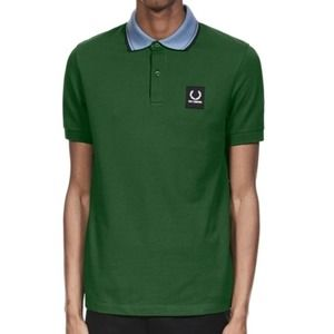 Raf Simons Green Contrast Collar Pique Polo Shirt
